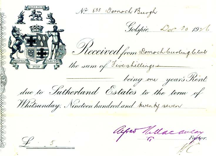 receipt from Sutherland Estates for ground rent for Dornoch Curling Club
