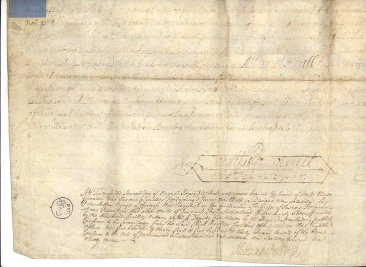 Vellum document relating to James MacBeath of Dornoch 1731
