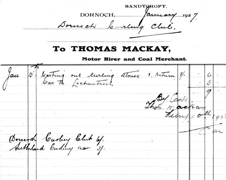 invoice from Thomas Mackay, Motor Hirer, for carting of curling stones to Dornoch Curling  Club