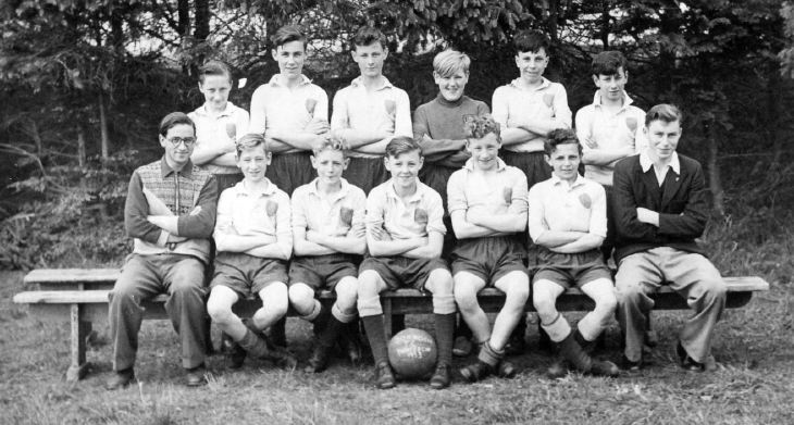 photograph of boys' football team  with names