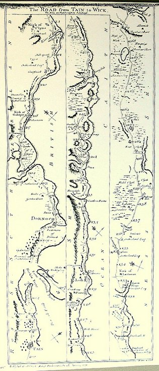 Tain to Wick road map 1776