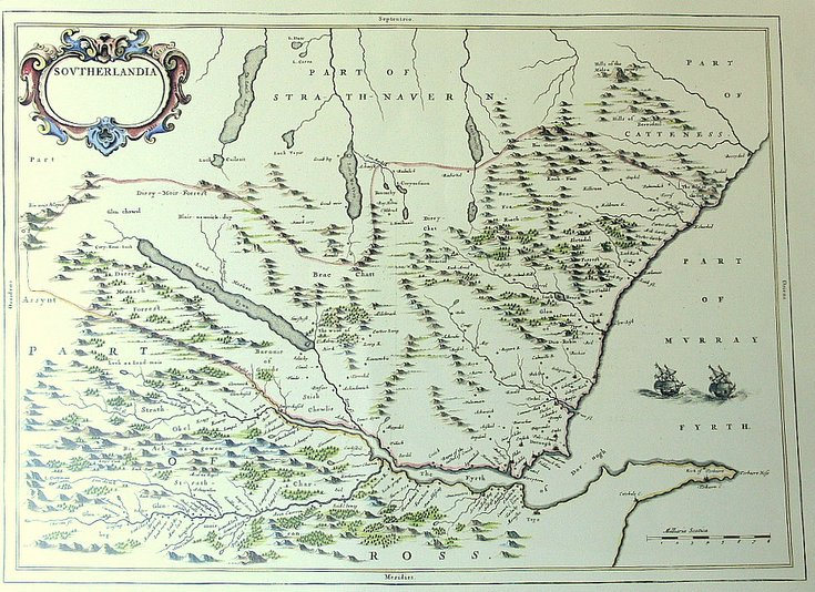 17th century map of Sutherland