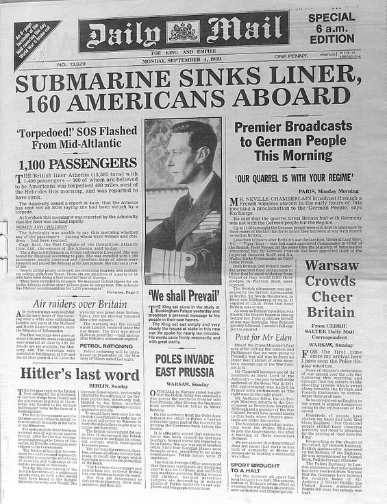 Daily Mail facsimile September 4th 1939 - sinking of SS Athenia