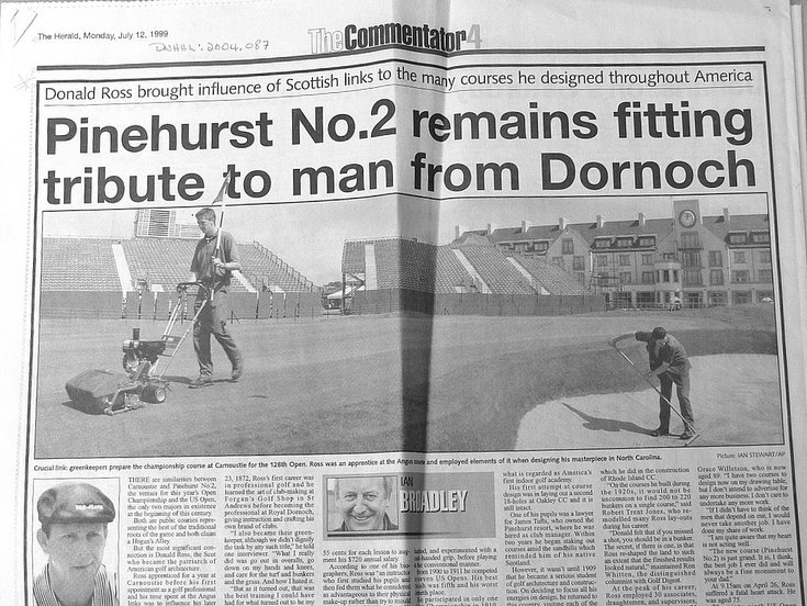 Newspaper article on Pinehurst No. 2 golf course