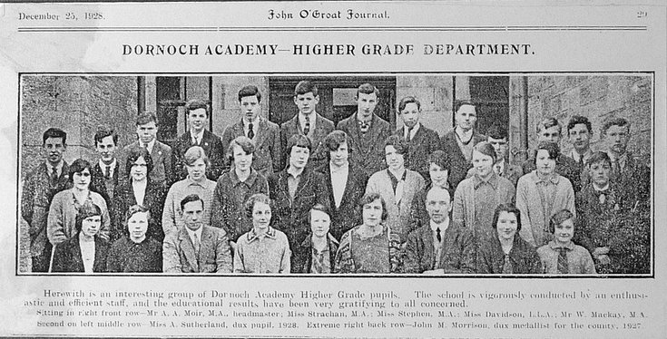 Higher Grade Department, Dornoch Academy, 1928