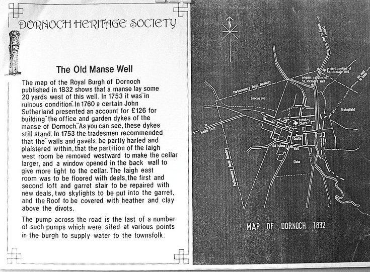 Display board describing the Old Manse Well Dornoch