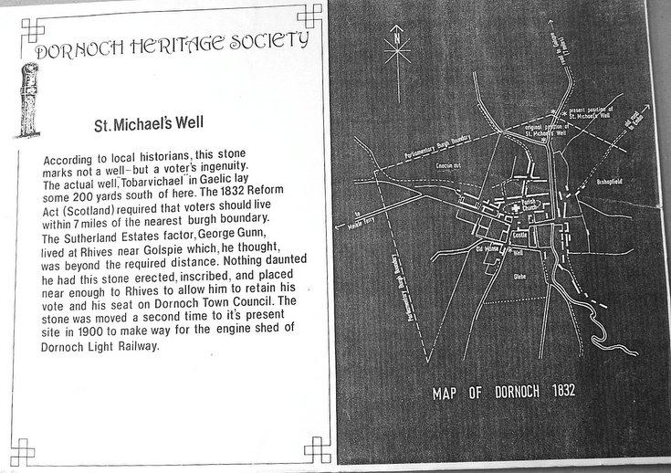 Display board describing St. Michael's Well, Dornoch