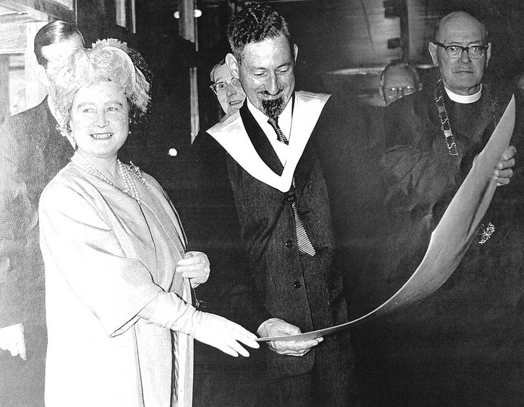 Queen Mother with Headmaster at opening of Dornoch Academy