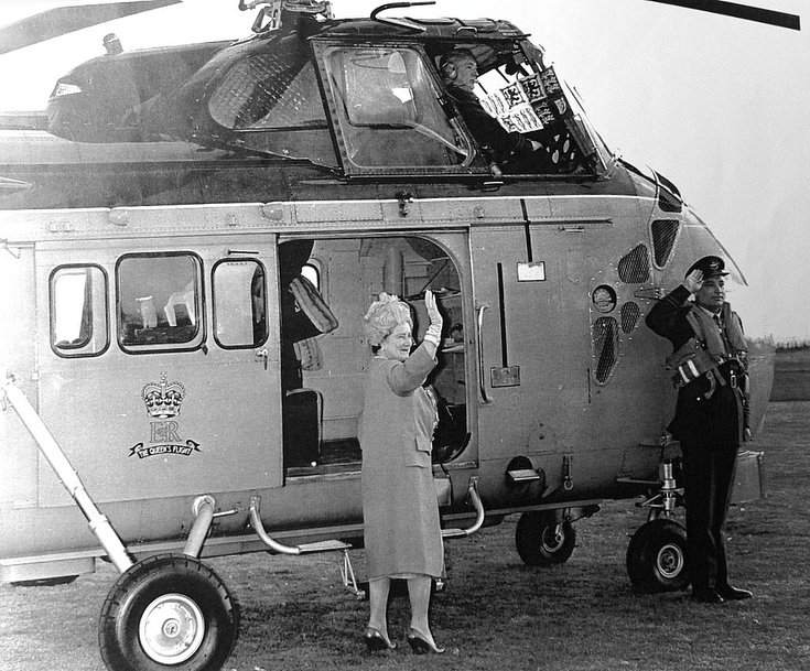 Queen Mother departing by helicopter after opening Dornoch Academy