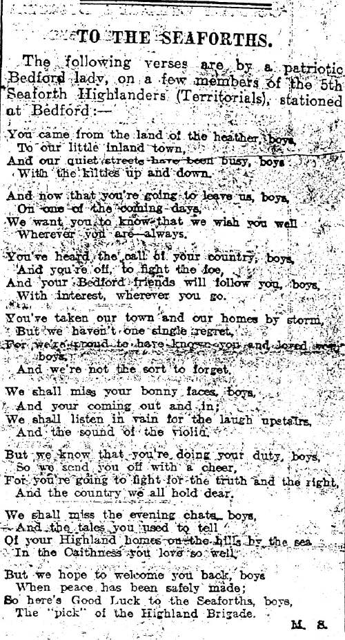 Poem for 5th Seaforth Highlanders