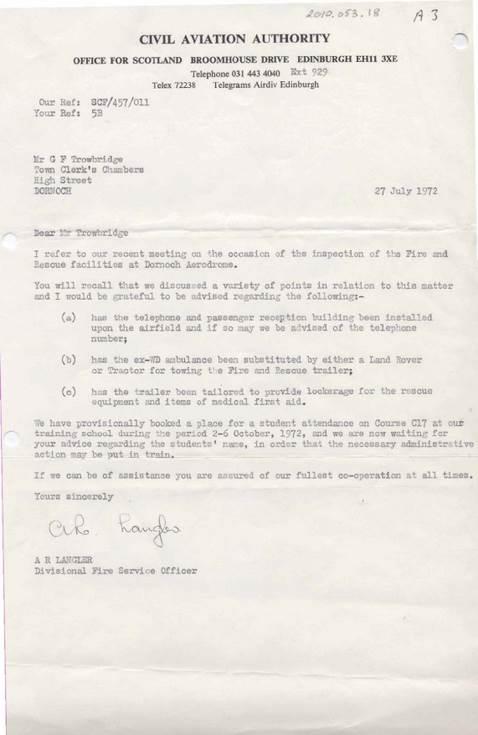 Civil Aviation Authority licence application correspondence