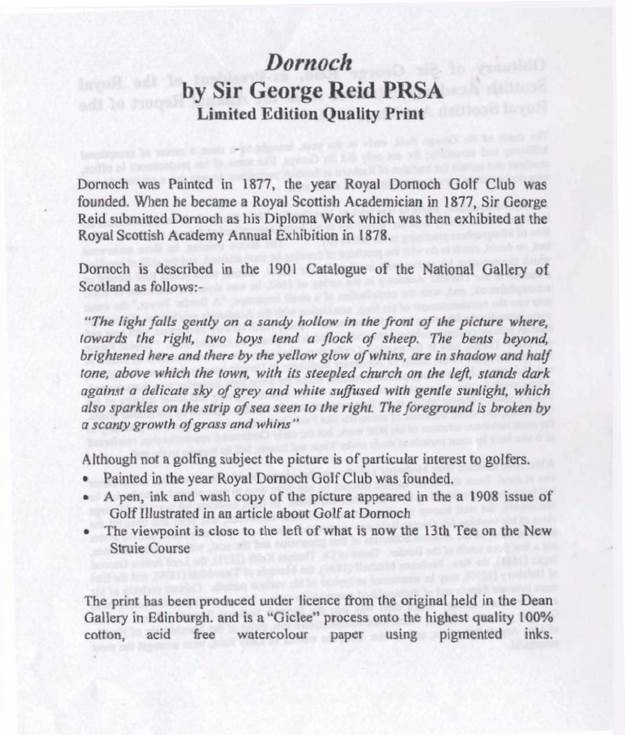 Information about the Dornoch painting by Sir George Reid
