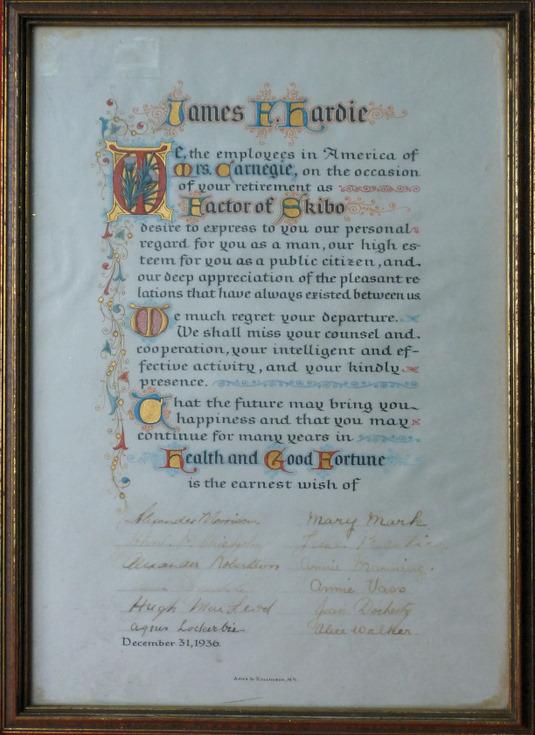 Presentation certificate for James Hardie's retirement