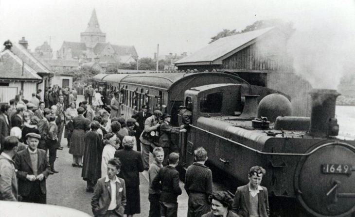 photograph  of train at Dornoch station