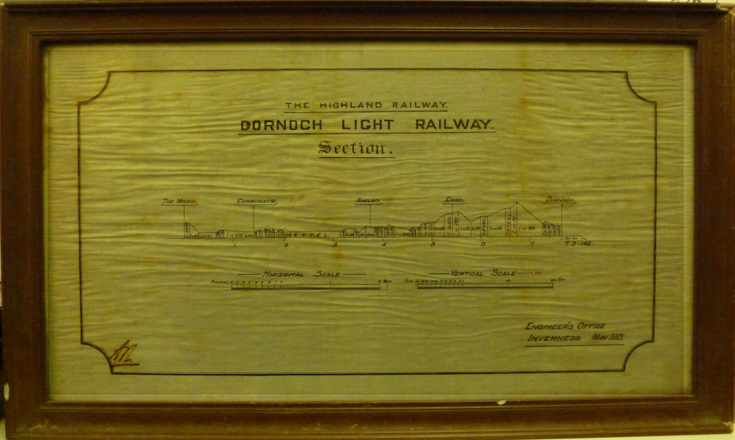 Framed drawing showing railway gradients between the Mound and Dornoch