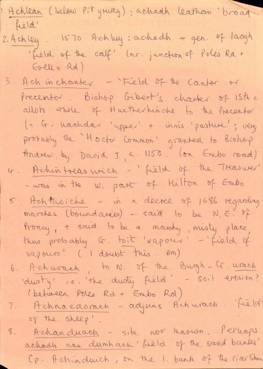 Bridget Mackenzie's notes on Sutherland placenames
