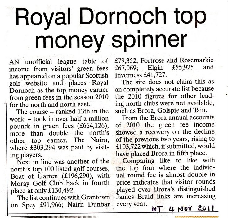 'Royal Dornoch top money spinner'