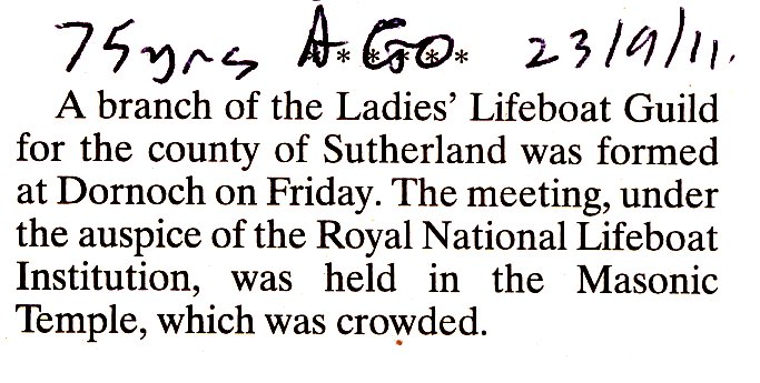 Ladies Lifeboat Guild formed in Dornoch 1911