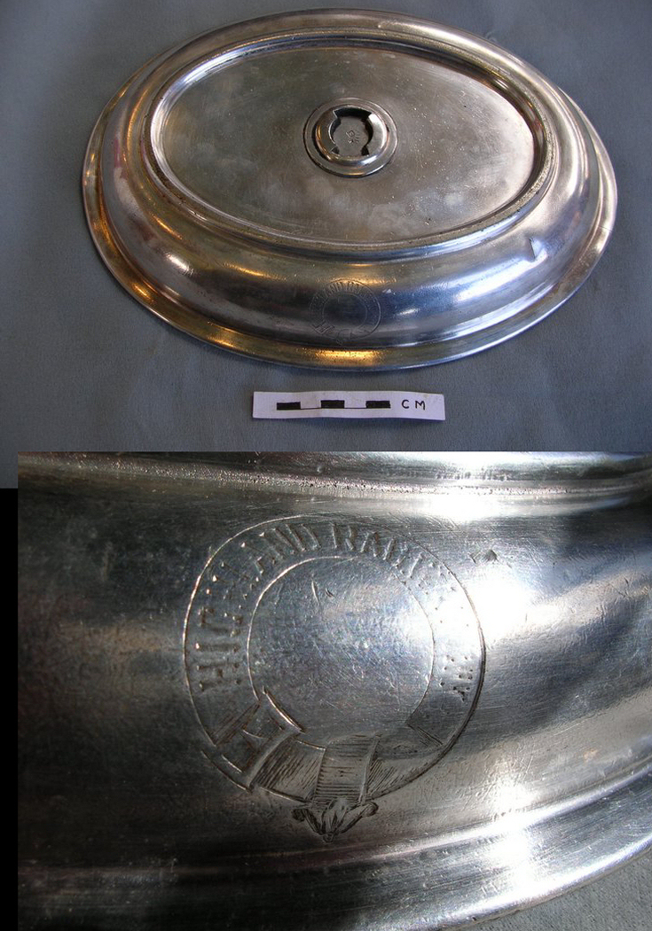 Top of a silver plate serving dish of the Highland Railway