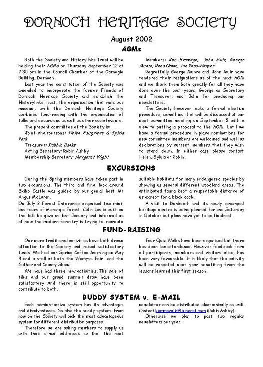 Dornoch Heritage Society Newsletter August 2002