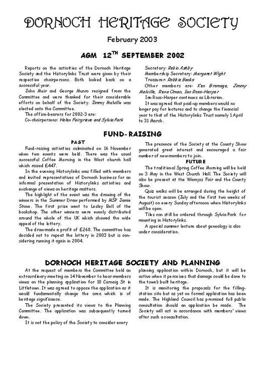 Dornoch Heritage Society Newsletter February 2003