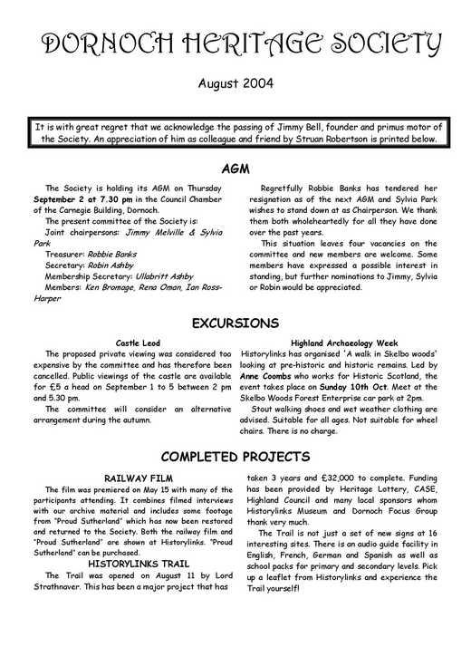 Dornoch Heritage Society Newsletter August 2004