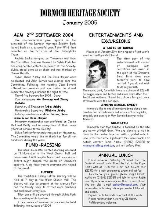 Dornoch Heritage Society Newsletter January 2005