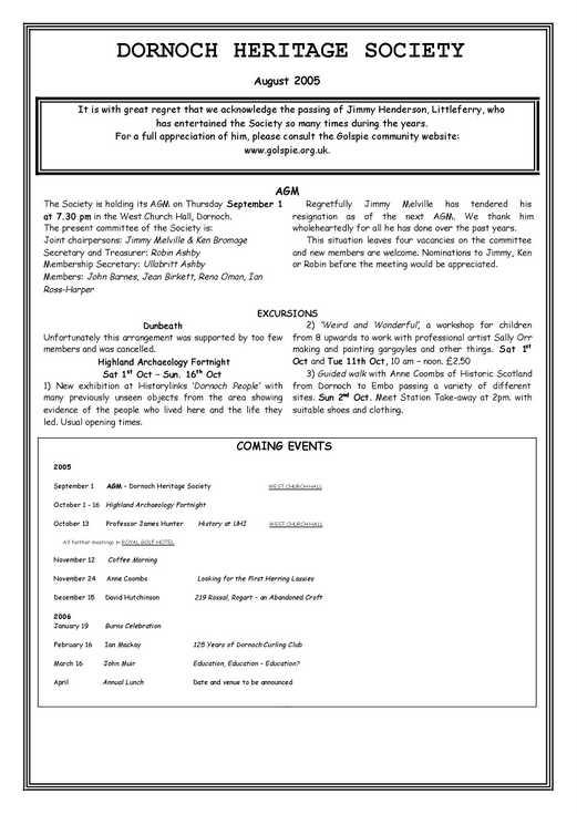 Dornoch Heritage Society Newsletter August 2005