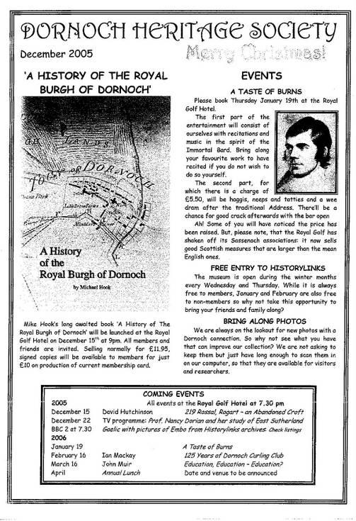 Dornoch Heritage Society Newsletter Decembert 2005