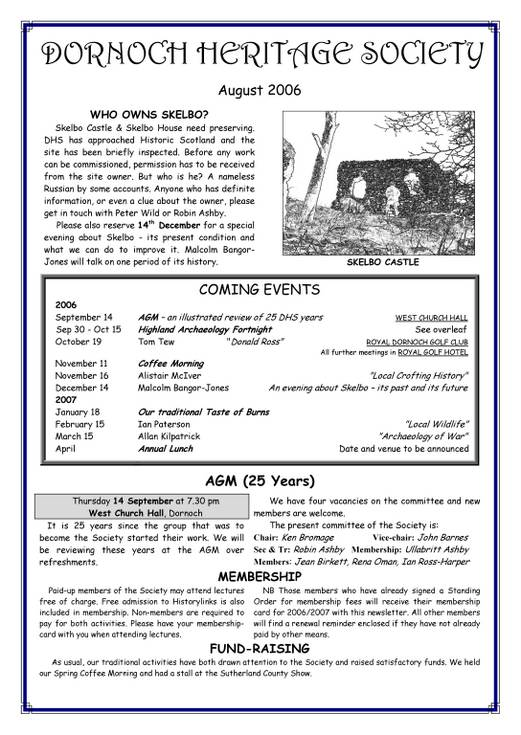 Dornoch Heritage Society Newsletter August 2006