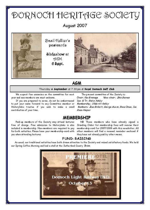 Dornoch Heritage Society Newsletter August 2007