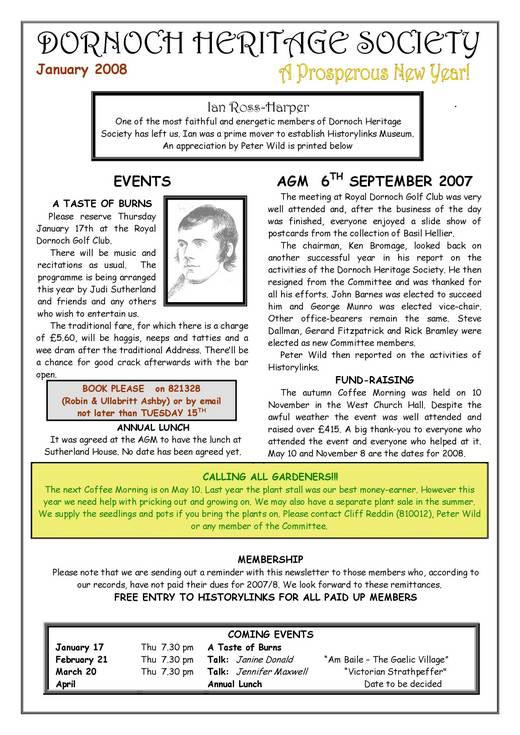 Dornoch Heritage Society Newsletter January 2008