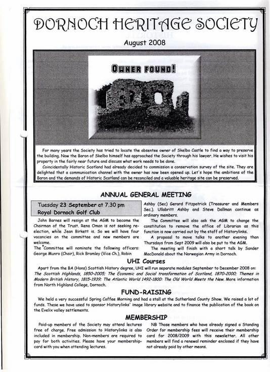 Dornoch Heritage Society Newsletter August 2008