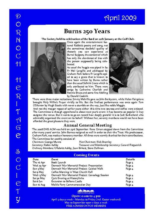 Dornoch Heritage Society Newsletter April 2009