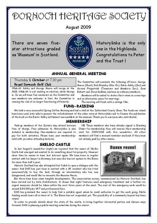 Dornoch Heritage Society Newsletter August 2009