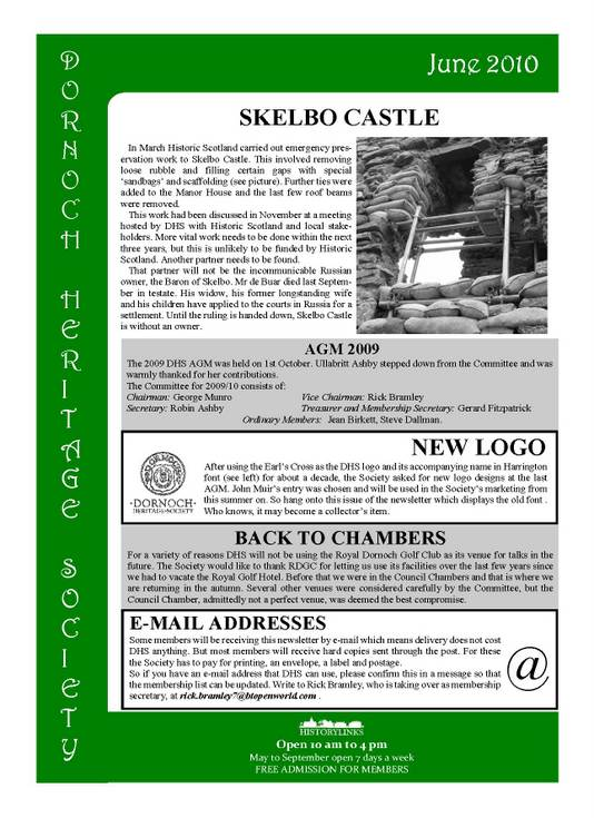 Dornoch Heritage Society Newsletter June 2010