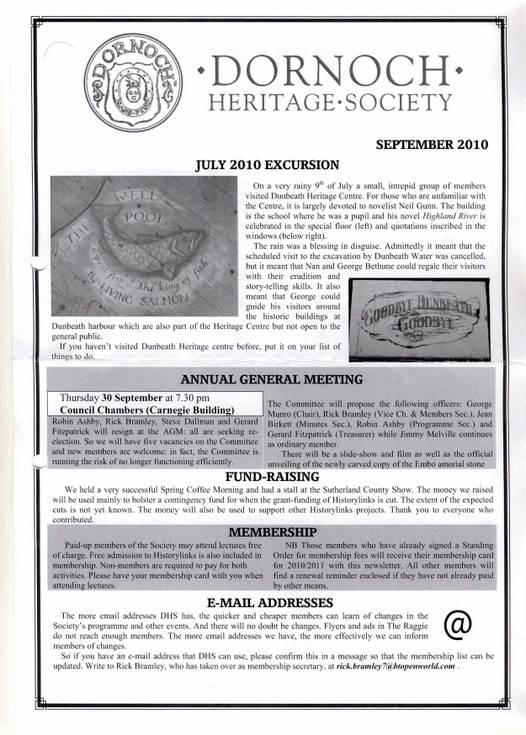 Dornoch Heritage Society Newsletter September 2010