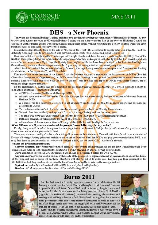 Dornoch Heritage Society Newsletter May 2011