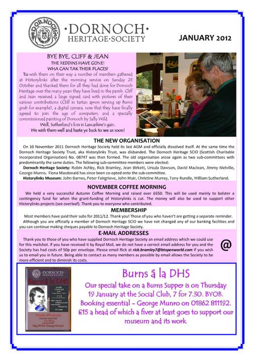 Dornoch Heritage Society Newsletter January 2012