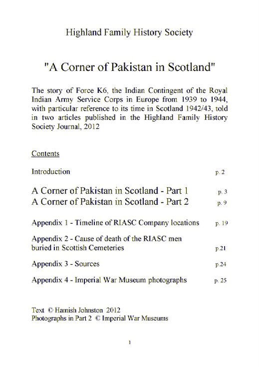 'A Corner of Pakistan in Scotland'  - Force K6 RIASC in Europe