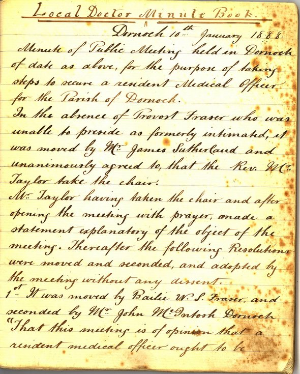 Extract Dornoch Doctor Minute Book 10 January 1888