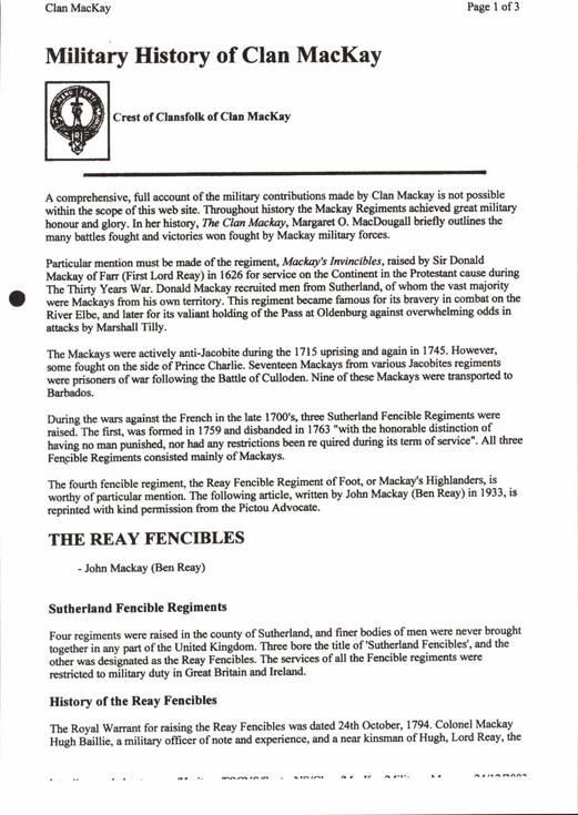 Military History of Clan MacKay