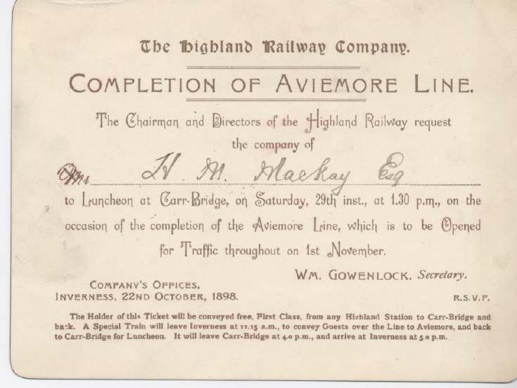 Highland Railway Company invitation