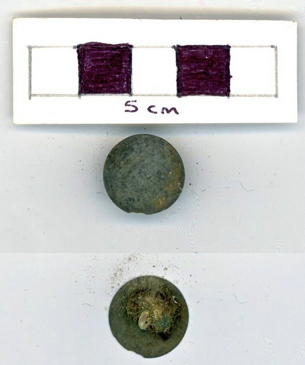 Objects discovered on Pitgrudy Farm - white metal button