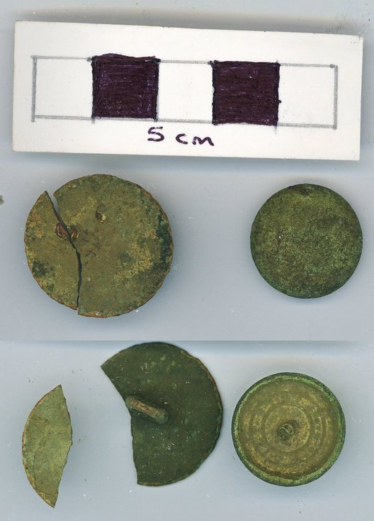 Objects discovered on Pitgrudy Farm- two copper alloy button