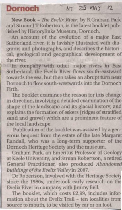 Northern Times article with review of 'The Evelix River' book