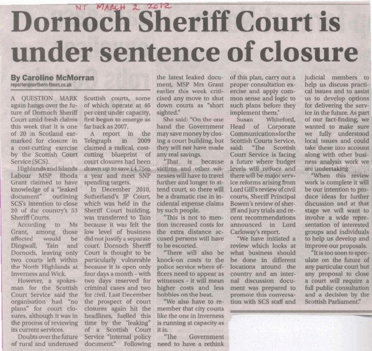 Dornoch Sheriff Court under sentence of closure March 2012