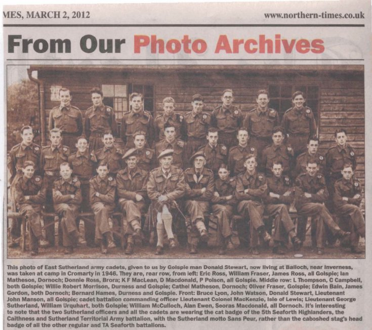 East Sutherland Army Cadets group photograph 1946