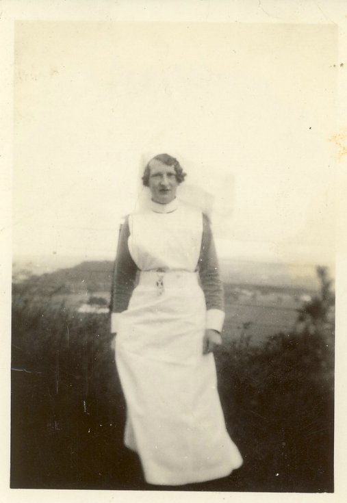 Margaret Button outside Royal Inverness Infirmary c 1934