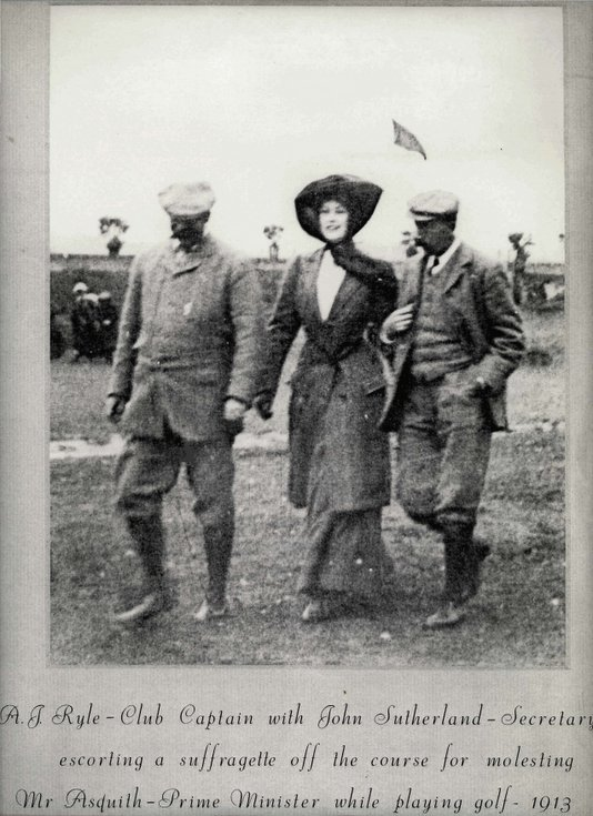 Club Captain and Secretary escort suffragette from Dornoch course